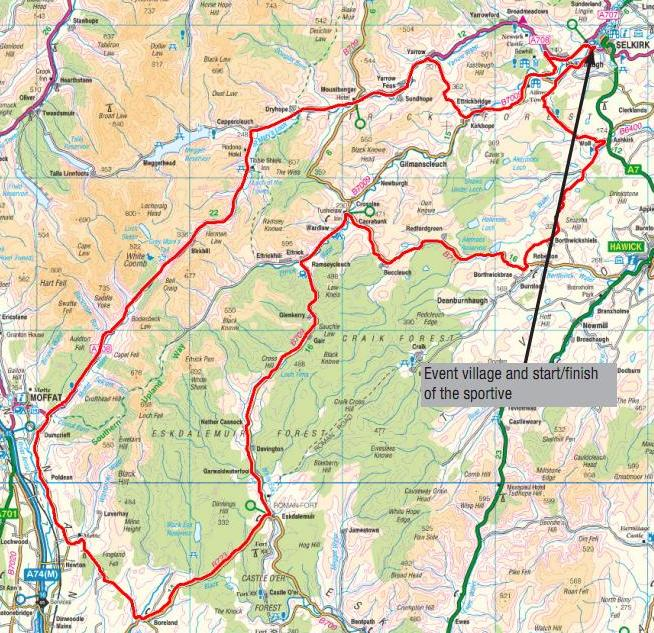Cycleops Sportive Selkirk Route Map (95 Mile Route)