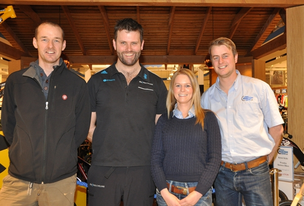 From Left to Right – David McCann (former professional road cyclist), Phil Burt, Beverley Pierson (Giant's Causeway Coast Sportive Event Organiser) and Neil McGuigan (Chain Reaction Cycles Flagship Store Belfast Manager) – Photo courtesy of Marian Lamb from Cycling Ulster.